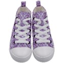 DAMASK1 WHITE MARBLE & PURPLE DENIM (R) Kid s Mid-Top Canvas Sneakers View1