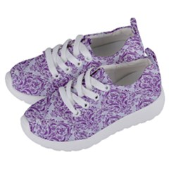 DAMASK1 WHITE MARBLE & PURPLE DENIM (R) Kids  Lightweight Sports Shoes