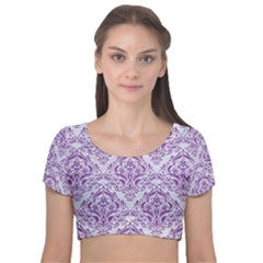 Damask1 White Marble & Purple Denim (r) Velvet Short Sleeve Crop Top  by trendistuff
