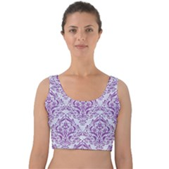 Damask1 White Marble & Purple Denim (r) Velvet Crop Top