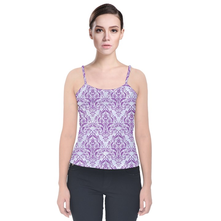 DAMASK1 WHITE MARBLE & PURPLE DENIM (R) Velvet Spaghetti Strap Top