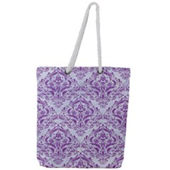 DAMASK1 WHITE MARBLE & PURPLE DENIM (R) Full Print Rope Handle Tote (Large)