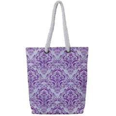 DAMASK1 WHITE MARBLE & PURPLE DENIM (R) Full Print Rope Handle Tote (Small)