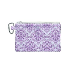 DAMASK1 WHITE MARBLE & PURPLE DENIM (R) Canvas Cosmetic Bag (Small)