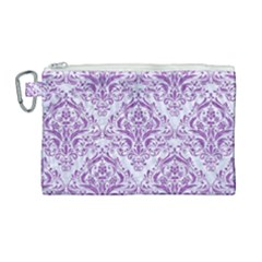 Damask1 White Marble & Purple Denim (r) Canvas Cosmetic Bag (large)