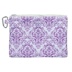 DAMASK1 WHITE MARBLE & PURPLE DENIM (R) Canvas Cosmetic Bag (XL)