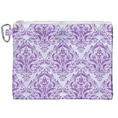DAMASK1 WHITE MARBLE & PURPLE DENIM (R) Canvas Cosmetic Bag (XXL)