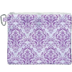 Damask1 White Marble & Purple Denim (r) Canvas Cosmetic Bag (xxxl) by trendistuff