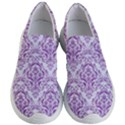 DAMASK1 WHITE MARBLE & PURPLE DENIM (R) Women s Lightweight Slip Ons View1