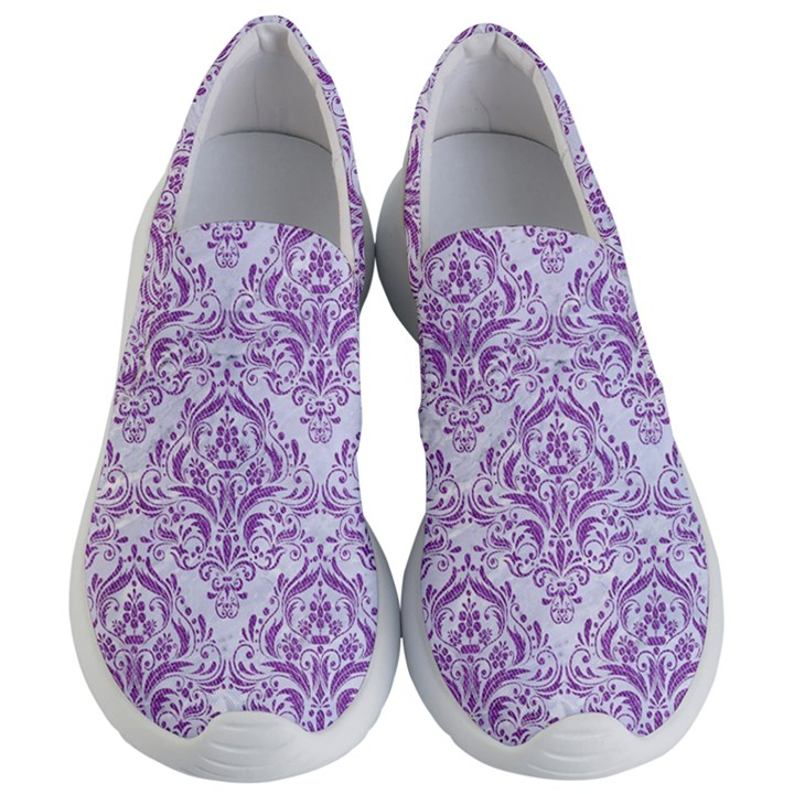 DAMASK1 WHITE MARBLE & PURPLE DENIM (R) Women s Lightweight Slip Ons