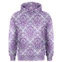 DAMASK1 WHITE MARBLE & PURPLE DENIM (R) Men s Overhead Hoodie View1