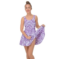 DAMASK1 WHITE MARBLE & PURPLE DENIM (R) Inside Out Dress