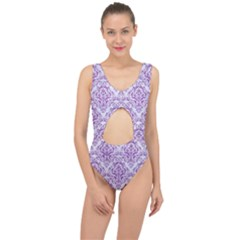 DAMASK1 WHITE MARBLE & PURPLE DENIM (R) Center Cut Out Swimsuit
