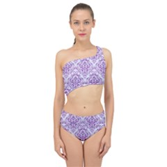 DAMASK1 WHITE MARBLE & PURPLE DENIM (R) Spliced Up Swimsuit