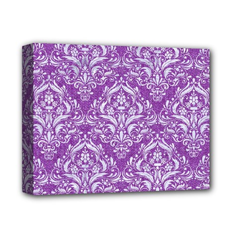 Damask1 White Marble & Purple Denim Deluxe Canvas 14  X 11  by trendistuff