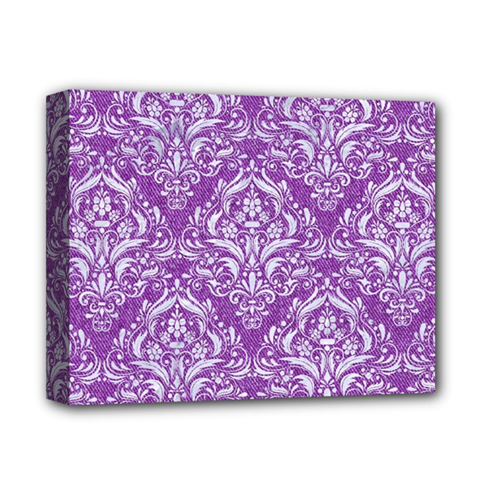 DAMASK1 WHITE MARBLE & PURPLE DENIM Deluxe Canvas 14  x 11