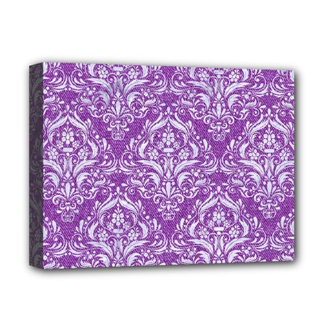 Damask1 White Marble & Purple Denim Deluxe Canvas 16  X 12