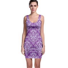 Damask1 White Marble & Purple Denim Bodycon Dress