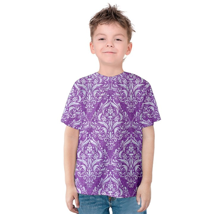 DAMASK1 WHITE MARBLE & PURPLE DENIM Kids  Cotton Tee