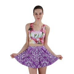 Damask1 White Marble & Purple Denim Mini Skirt by trendistuff