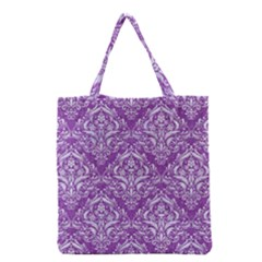 Damask1 White Marble & Purple Denim Grocery Tote Bag