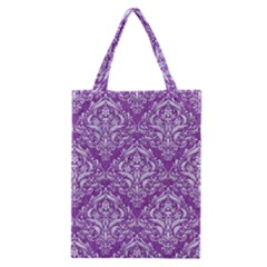 Damask1 White Marble & Purple Denim Classic Tote Bag by trendistuff