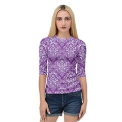 Damask1 White Marble & Purple Denim Quarter Sleeve Raglan Tee by trendistuff