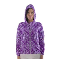 Damask1 White Marble & Purple Denim Hooded Wind Breaker (women) by trendistuff