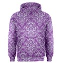 DAMASK1 WHITE MARBLE & PURPLE DENIM Men s Pullover Hoodie View1