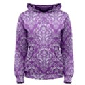 DAMASK1 WHITE MARBLE & PURPLE DENIM Women s Pullover Hoodie View1