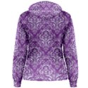 DAMASK1 WHITE MARBLE & PURPLE DENIM Women s Pullover Hoodie View2