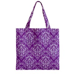 Damask1 White Marble & Purple Denim Zipper Grocery Tote Bag by trendistuff