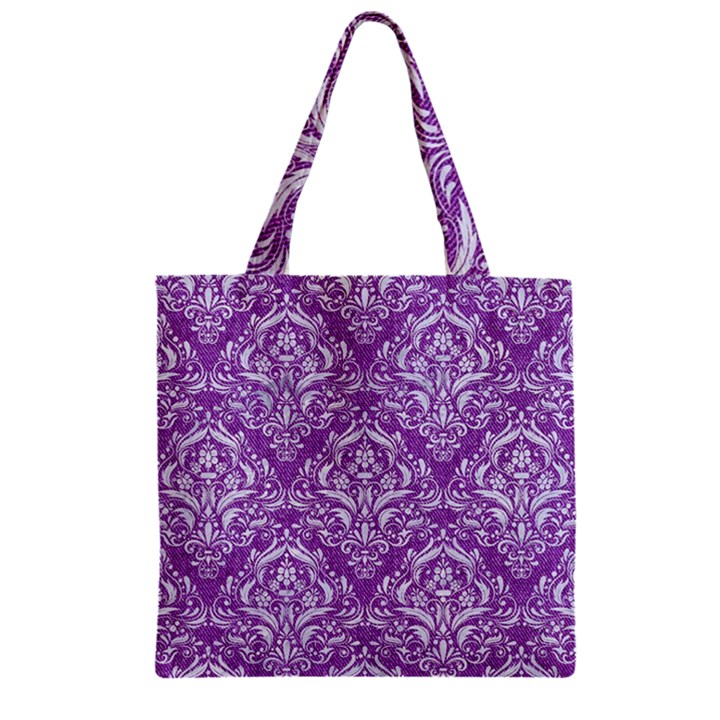 DAMASK1 WHITE MARBLE & PURPLE DENIM Zipper Grocery Tote Bag