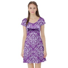 Damask1 White Marble & Purple Denim Short Sleeve Skater Dress