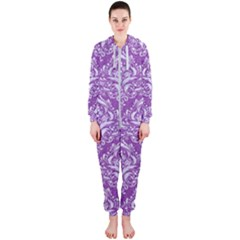 Damask1 White Marble & Purple Denim Hooded Jumpsuit (ladies)  by trendistuff