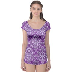 Damask1 White Marble & Purple Denim Boyleg Leotard  by trendistuff