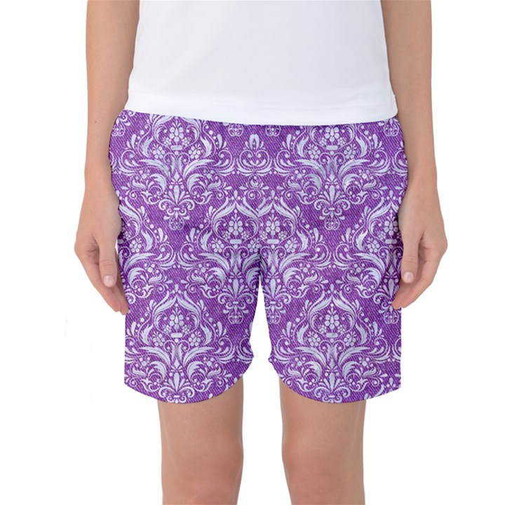 DAMASK1 WHITE MARBLE & PURPLE DENIM Women s Basketball Shorts