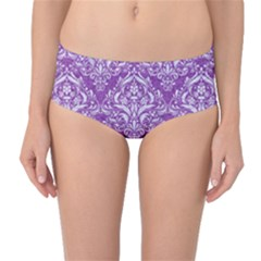 Damask1 White Marble & Purple Denim Mid Waist Bikini Bottoms