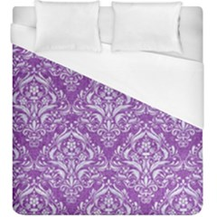 Damask1 White Marble & Purple Denim Duvet Cover (king Size) by trendistuff