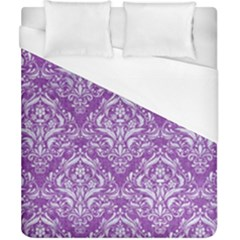 Damask1 White Marble & Purple Denim Duvet Cover (california King Size)