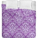 DAMASK1 WHITE MARBLE & PURPLE DENIM Duvet Cover Double Side (King Size) View1