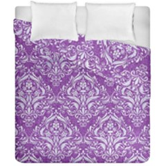 Damask1 White Marble & Purple Denim Duvet Cover Double Side (california King Size) by trendistuff