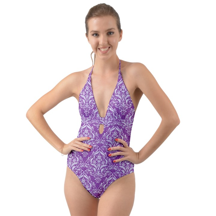 DAMASK1 WHITE MARBLE & PURPLE DENIM Halter Cut-Out One Piece Swimsuit