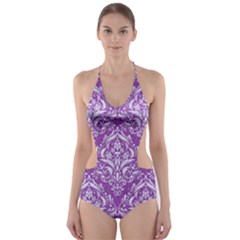 Damask1 White Marble & Purple Denim Cut Out One Piece Swimsuit by trendistuff