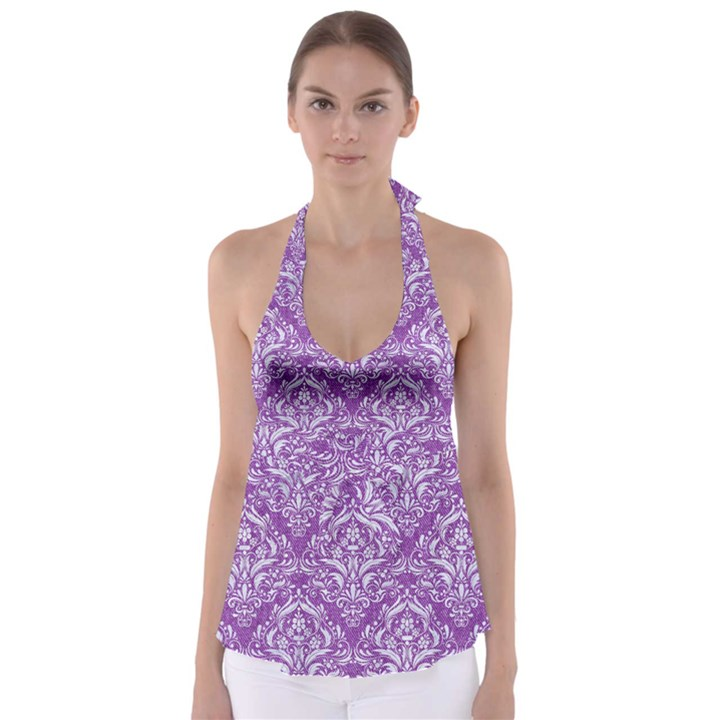 DAMASK1 WHITE MARBLE & PURPLE DENIM Babydoll Tankini Top