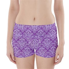 Damask1 White Marble & Purple Denim Boyleg Bikini Wrap Bottoms by trendistuff