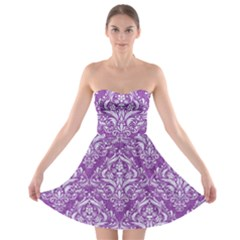 Damask1 White Marble & Purple Denim Strapless Bra Top Dress