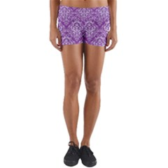 Damask1 White Marble & Purple Denim Yoga Shorts by trendistuff