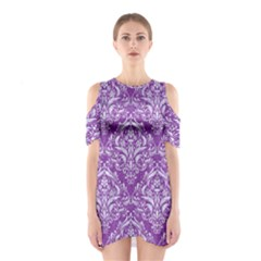 Damask1 White Marble & Purple Denim Shoulder Cutout One Piece by trendistuff