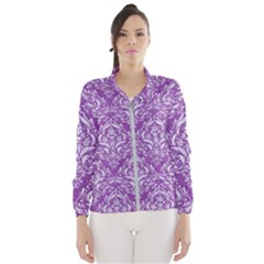 Damask1 White Marble & Purple Denim Wind Breaker (women) by trendistuff